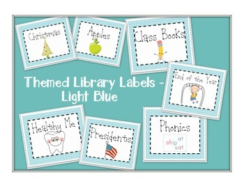 Themed Library Labels - Light Blue