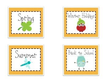 Themed Library Labels - Orange Dot