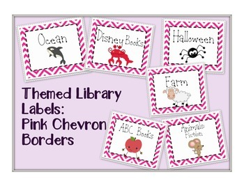 Themed Library Labels - Pink Chevron