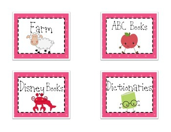 Themed Library Labels - Pink Dot
