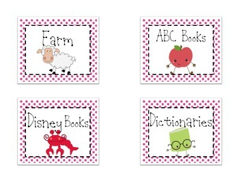Themed Library Labels - Purple Dot