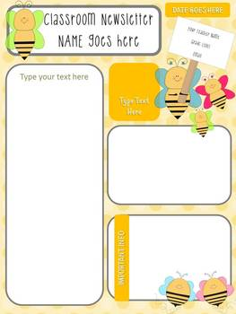 Themed Newsletter FREEBIE - Bee, Owl, Cupcake, Puppy, Kitten