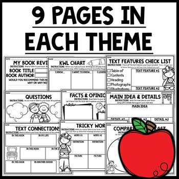 Themed Nonfiction Reading Response Worksheets ENDLESS GROWING BUNDLE