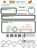 November Themed Piano Lesson Assignment Sheet