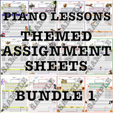 Themed Piano Lesson Assignment Sheets Bundle 1
