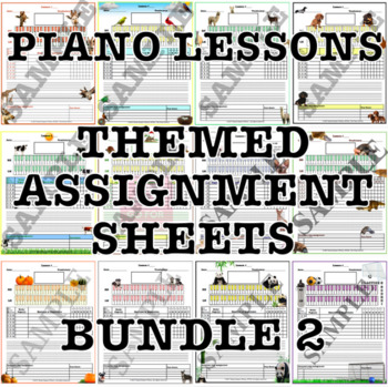 Themed Piano Lesson Assignment Sheets Bundle 2