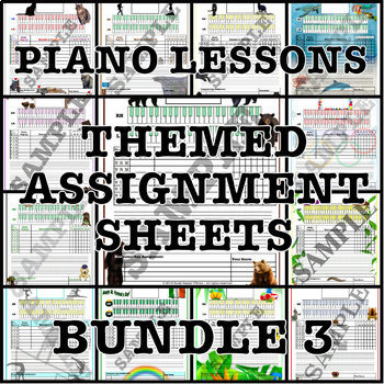 Themed Piano Lesson Assignment Sheets Bundle 3