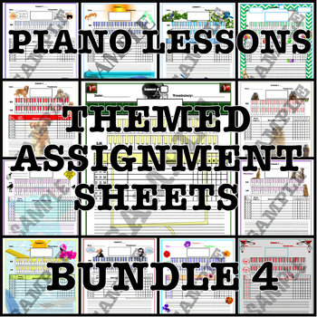 Themed Piano Lesson Assignment Sheets Bundle 4