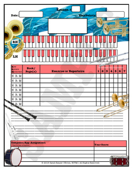 Themed Piano Lesson Assignment Sheets Bundle 5