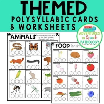 Themed Polysyllabic Cards & Worksheets: 3 syllables