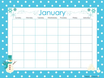 Themed Printable Blank Calendars. Classroom Accessories.