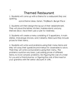 Themed Restaurant- Math Word Problems