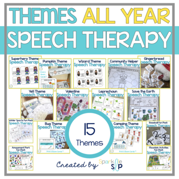 Themed Speech Therapy Bundle:  Multiple Targets for Mixed Groups ALL YEAR