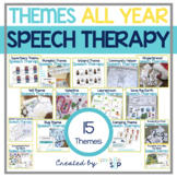 Speech Therapy Themed Packets Bundle for Mixed Groups ALL YEAR