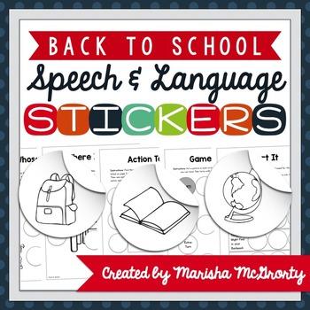 Interactive Speech & Language Stickers {Back to School}