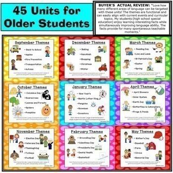 HUGE Bundle: Themed Vocabulary and Grammar Units for Speech Therapy and ELL/ESL
