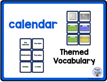 Themed Vocabulary combo pack - calendar