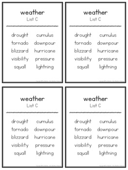 Themed Word Lists/Portable Word Wall for Spelling and Writing Activities