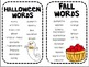 Themed Word Lists for Writing Center- Holiday Edition