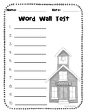 Themed Word Wall Test Paper