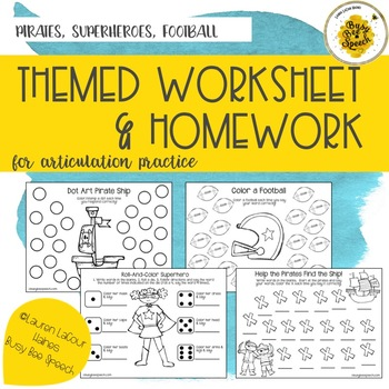Themed Worksheet & HW Combo Pack - Superheroes, Pirates, Football