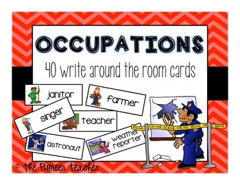 "Themed ""Write Around The Room"" Cards {Occupational Jobs}"