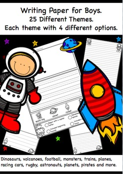 Themed Writing Paper for Boys. Get your Boys Excited about Writing.