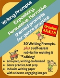 Themed Writing Prompts: Expository, Persuasive & Narrative, Set of 30