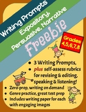 Themed Writing Prompts Freebie: Expository, Persuasive & Narrative, Set of 3