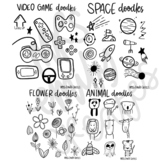 Themed doodle sheets for classroom drawing projects