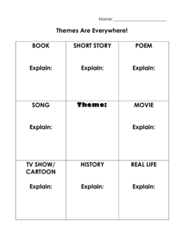 Themes Are Everywhere! - Worksheet