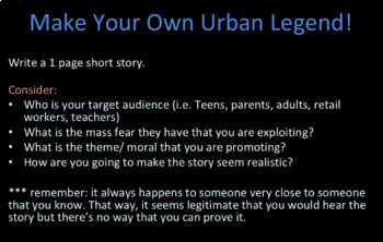 Themes and Morals in Urban Legends: Discussion/ Creative Writing Prompt