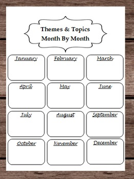 Themes and Topics By Month Lesson Plans -- Yearly Glance Calendar