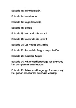 Themes for Advanced Learners of Spanish: Speakers from Spain 1-25