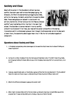 The outsiders s.e Hinton themes and questions