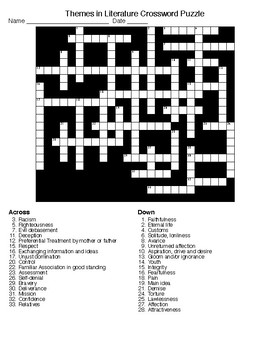 Themes in Literature Crossword and Word Search with KEYS