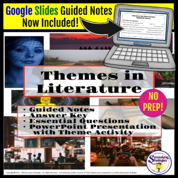 Theme in Literature Lesson with Guided Notes and PowerPoint Presentation