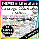 Themes in Literature Posters Cursive Alphabet Word Wall RL