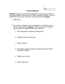 Themes in Siddhartha Worksheet