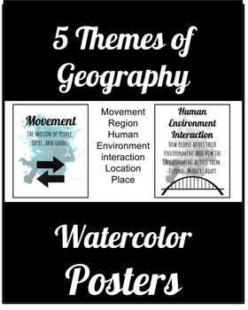 Themes of Geography Watercolor Posters