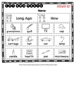 Then and Now  | Category Sort | Cut and Paste Worksheets