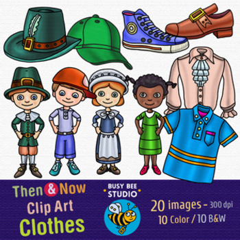 Then and Now Clip Art Set: Clothes
