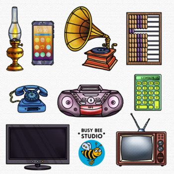 Then and Now Clip Art Set: Devices