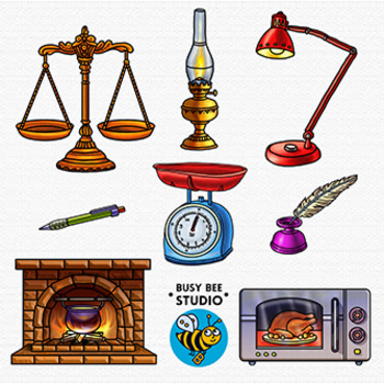 Then and Now Clip Art Set: Household Items