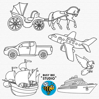 Then and Now Clip Art Set: Transport