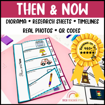 Then and Now History Social Studies Activities Diorama Flip Book Worksheets