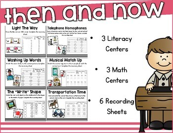 Then and Now Math and Literacy Centers