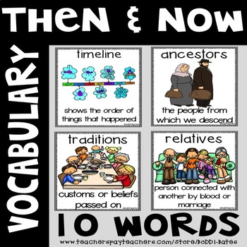 Then and Now  Vocabulary Word Posters