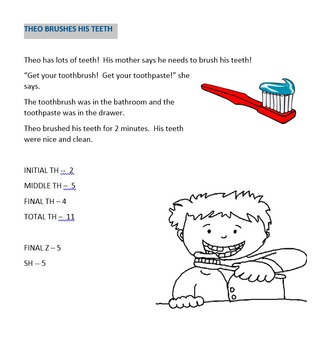 Theo Brushes His Teeth -- a short story for articulation practice