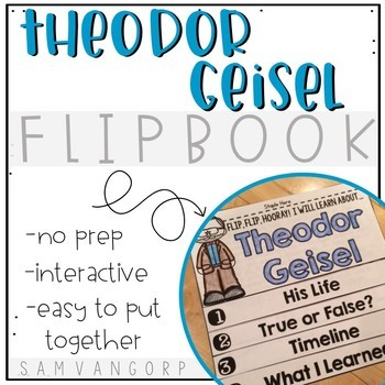 Theodor Geisel Flip Book PLUS Colored Poster & Student Coloring Page